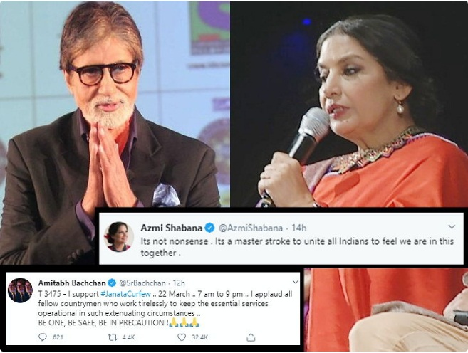 Bollywood celebs support Janata curfew / PM Modi's initiative, Shabana with different views on many issues