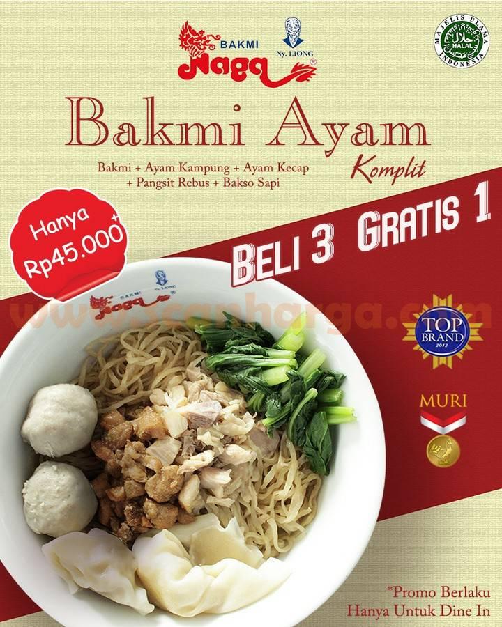 Promo BAKMI NAGA Miet Ayam Komplit cuma Rp 45.000 + BELI 3 GRATIS 1