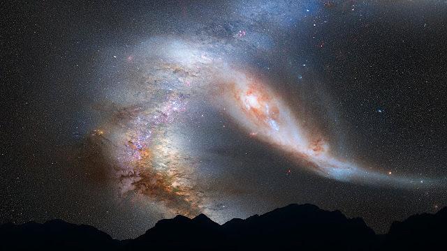 خلفيات الجبال والسماء والنجوم ليلا