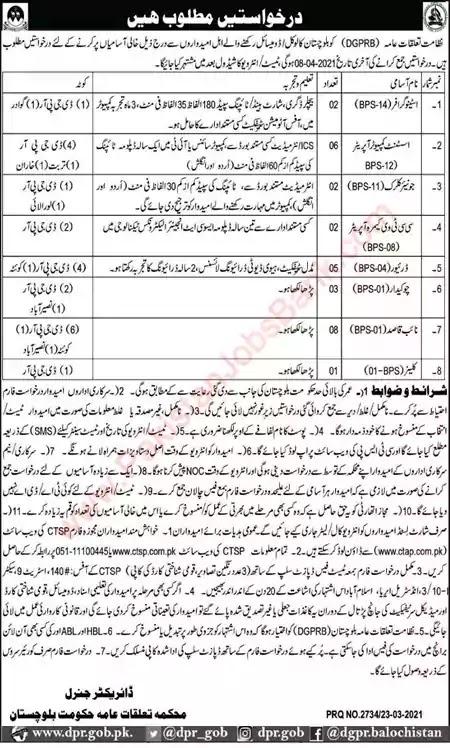 New Jobs in Pakistan Directorate of Public Relations Balochistan Jobs 2021 | Download Application Form