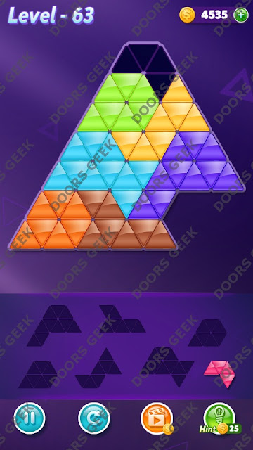 Block! Triangle Puzzle 7 Mania Level 63 Solution, Cheats, Walkthrough for Android, iPhone, iPad and iPod