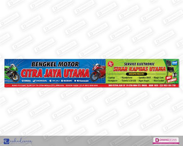 Contoh Desain Spanduk Banner Bengkel Motor & Service Motor ...