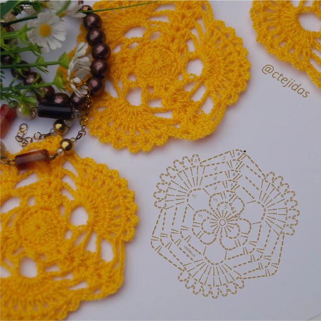 Patrón Motivo Flor de Cañaguate a Crochet