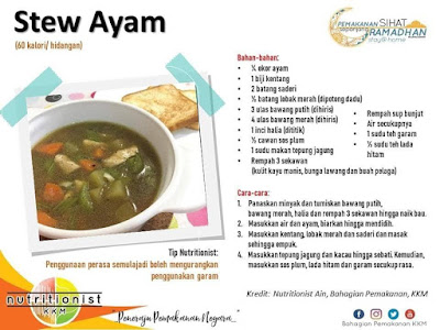menu berbuka puasa dan sahur simple stew ayam