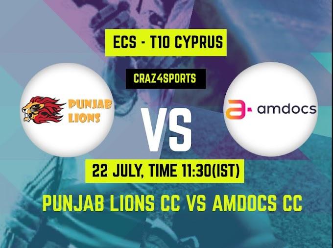 PNL VS AMD Dream11 prediction | Punjab Lions CC Vs Amdocs CC, Dream11 ECS T10 Cyprus, Top picks, Players stats, Pitch Report, Dream Team