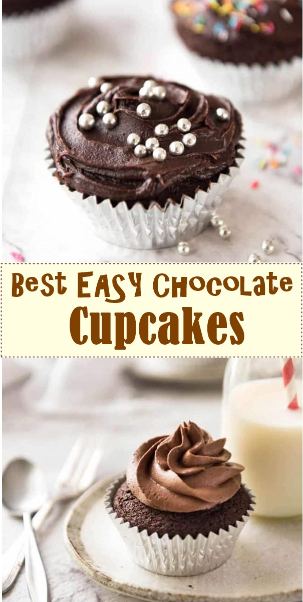 Best EASY Chocolate Cupcakes (no stand mixer) #cupcakerecipes