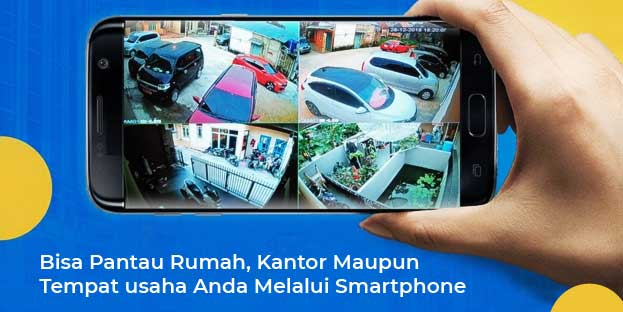 Menggunakan IP Camera plus teknologi Wireless dan bisa menggunakan wifi