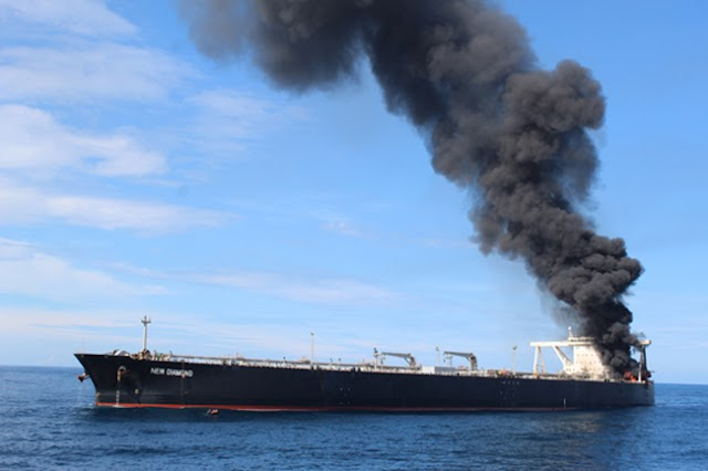 Missing crew member of oil tanker on fire confirmed dead