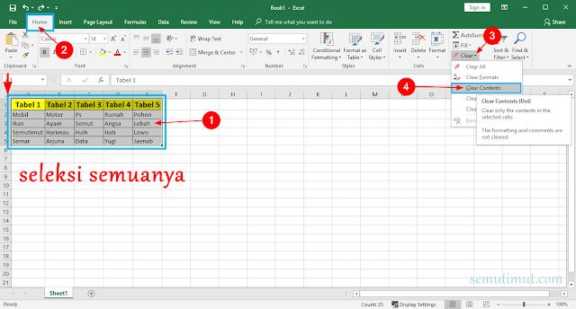 Cara Menghapus Tabel di Excel 2007