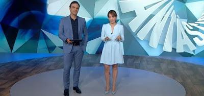 Tadeu Schmidt e Poliana Abritta em edição do Fantástico exibida em 2019: audiência em queda