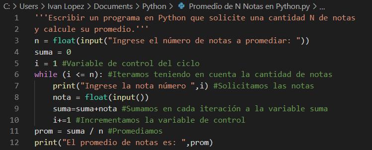 Calcular promedio de N notas en Python
