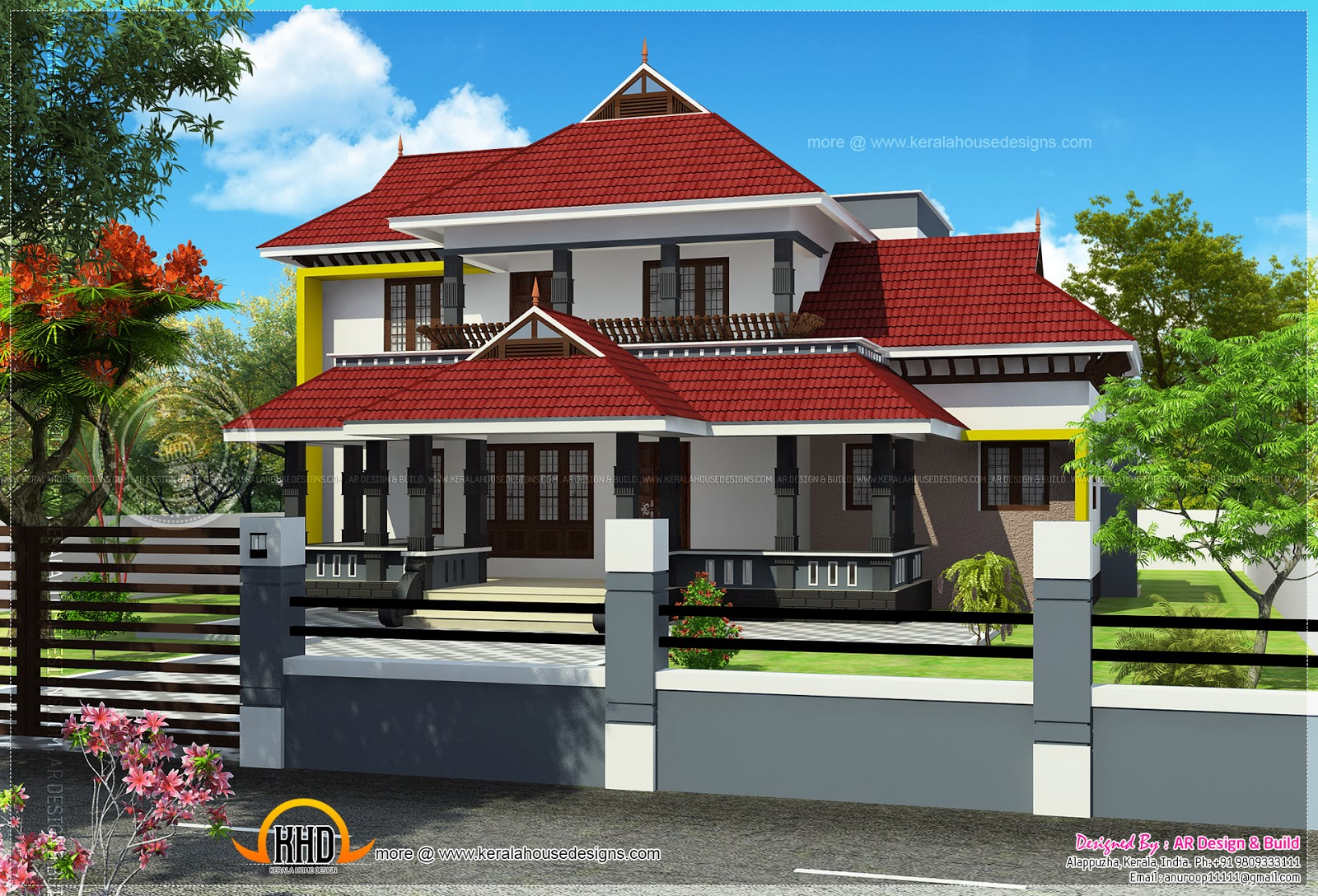 4 bedroom attached kerala house elevation kerala home for Kerala style pillar design