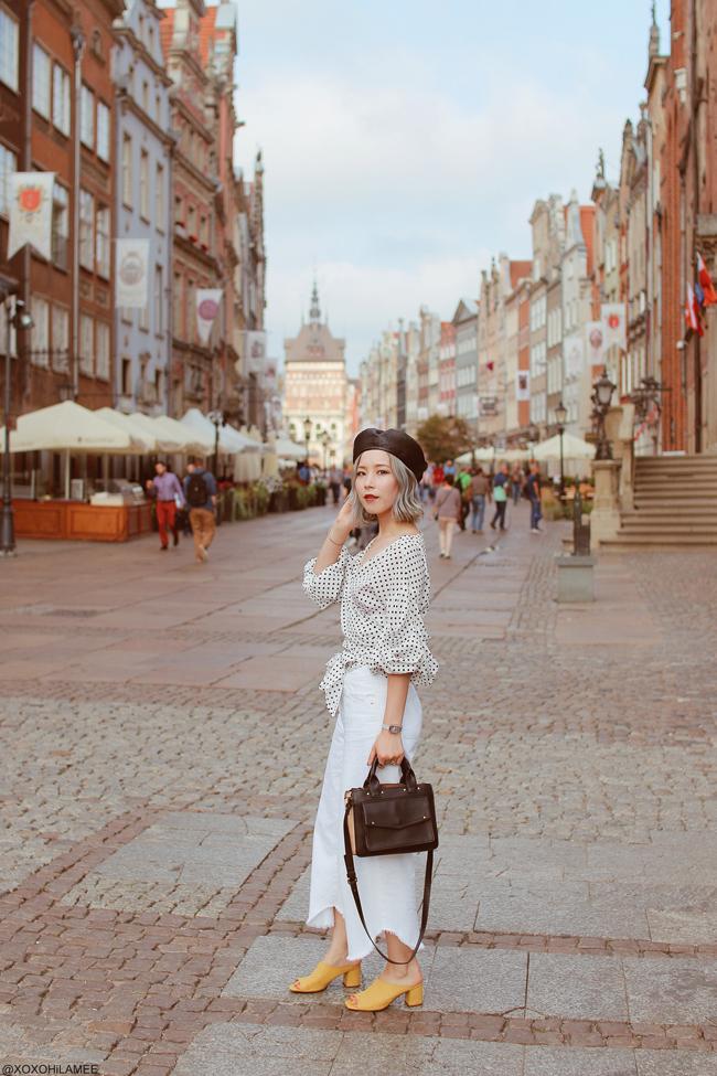 Japanese Fashion Blogger,MizuhoK,20180907OOTD in poland, Gdansk, SheIn=dot dress(top), ZARA= white denim culotte,black/beige hand bag GU=mules, ungrid=fake leather beret hat, Olivia Burton=watch, Shashi=necklace,bracelet