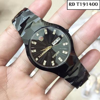 Đồng hồ đeo tay nam mặt tròn dây đá ceramic RD T191400