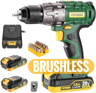 "Cordless drill, Brushless 20V 1/2"" Drill Driver"