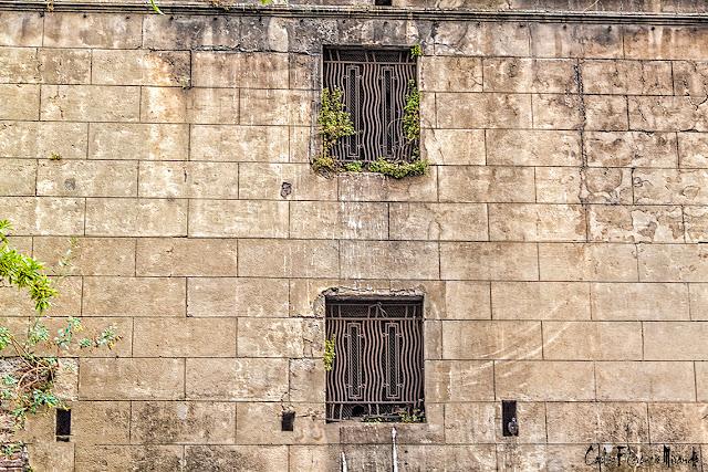 Alta pared con dos enrejadas ventanas.