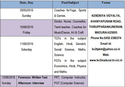 Kendriya Vidyalya, Madurai Teachers Walk in Interview 2016 - PRT, PGTs, Computer Instructor, Academic Counsellors Posts