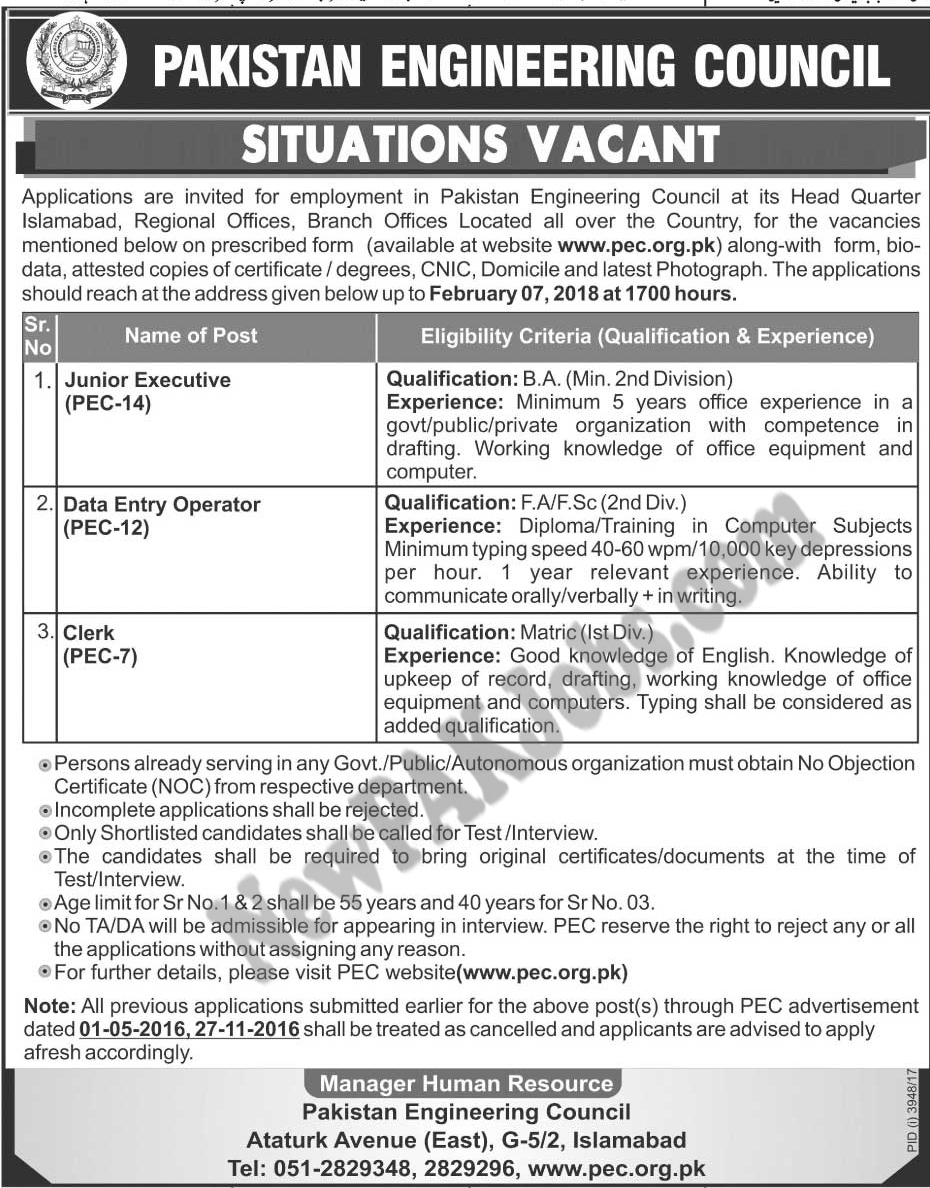 Pakistan Engineering Council Latest Jobs www.pec.org.pk