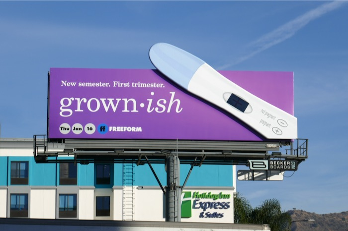 Grownish season 3 Pregnancy test billboard