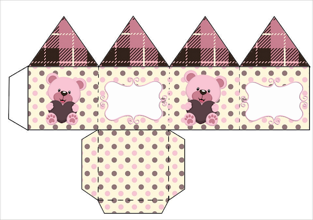 Lovely Girl Bear with Heart: Free Printable Boxes.