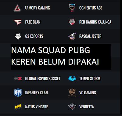 Nama Squad PUBG Keren Belum Dipakai Terbaru