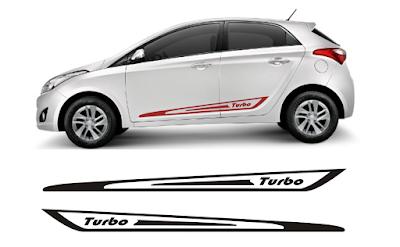 Kit adesivo lateral Hy2 Turbo para carro HB20 Hyundai lançamento 2016 2017