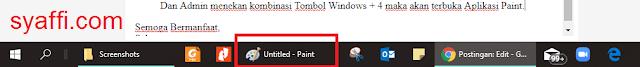 25. Aplikasi Pain sudah terbuka pada Taskbar Windows 10 syaffi com