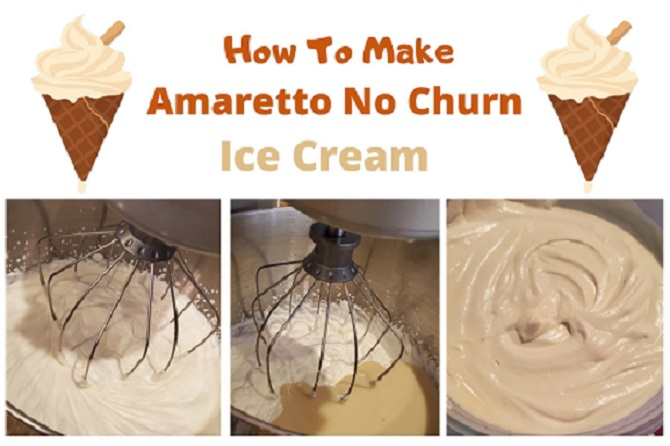 this is a collage of how to make ice cream no churn and the photo directions