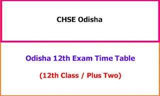 Odisha 12th Class Exam Time Table 2021