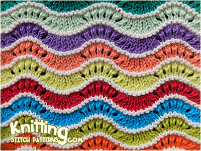 Rainbow Stripe Pattern in Feather and Fan Knit Stitch.