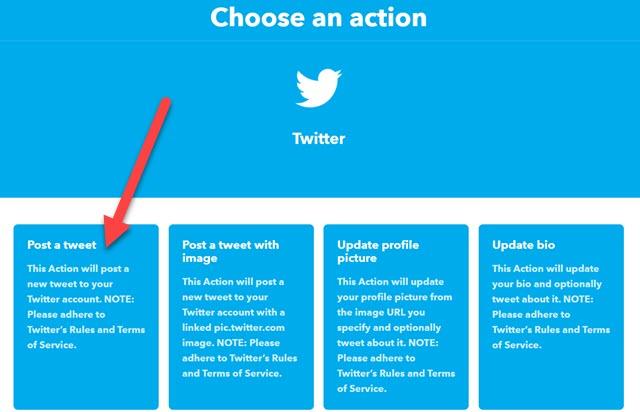 scegliere action IFTTT in Twitter