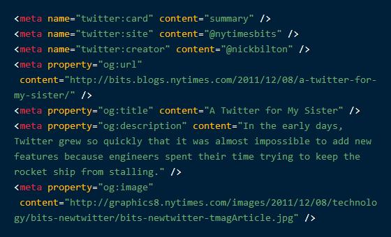Оптимальный из рекомендованных кодов разметки Twitter Cards