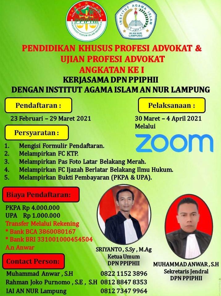 Perkumpulan Pengacara Islam dan Penasehat Hukum Islam Indonesia (PPIPHII) membuka pendaftaran Angkatan pertama untuk Pendidikan Khusus Profesi Advokat (PKPA) dan Ujian Profesi Advokat (UPA) secara online.