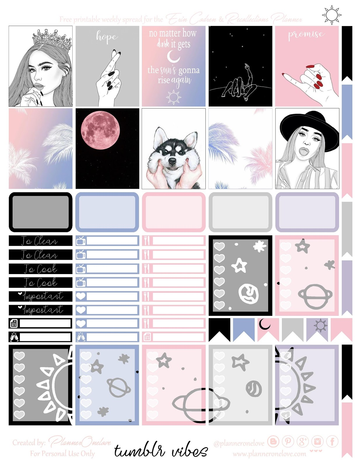 image regarding Tumblr Stickers Printable named cost-free tumblr vibes printable planner stickers for the Erin