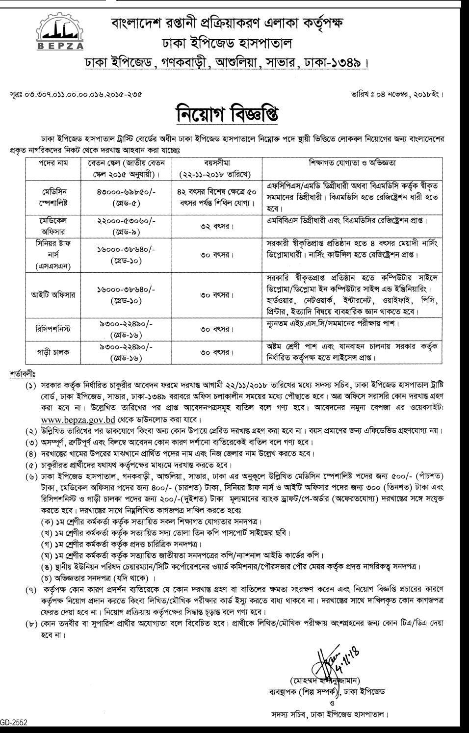 Dhaka EPZ Medical Trusti Board Job Circular 2018