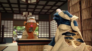 """Sesame Street Cookie's Crumby Pictures The Biscotti Kid. Mr. MiCookie teaches """"Cookiesan"""" (Cookie Monster) the art of """"Biscotti Karate"""""""