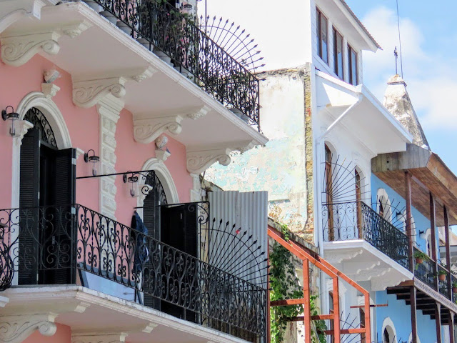 Panama City Layover: Casco Viejo colorful buildings and wrought iron balconies