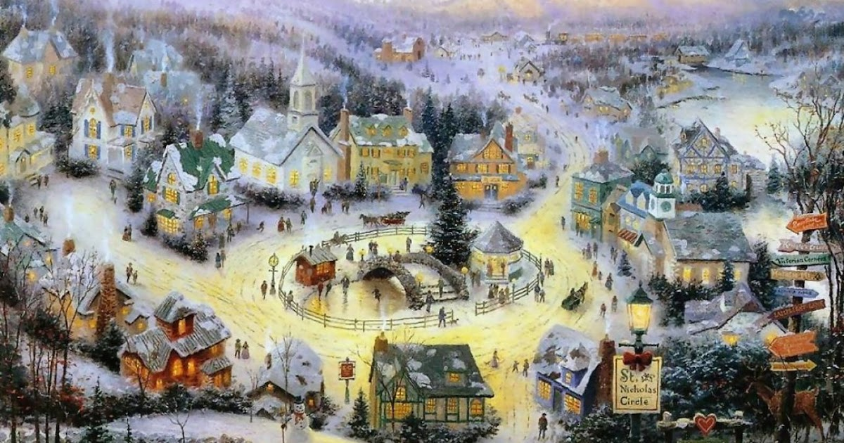Wallpapers84 Daily Update Fresh Images And Smiley Face Hd: Wallpaper Christmas Thomas Kinkade