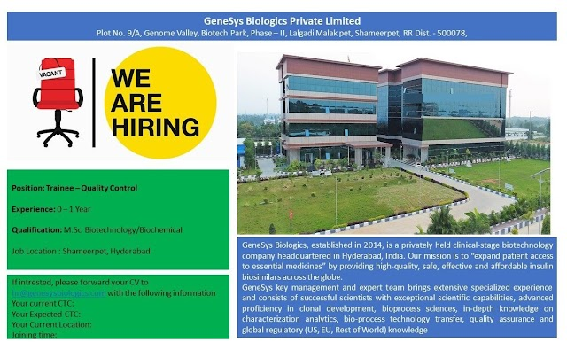 GeneSys Biologics Pvt.Ltd Openings - Fresher & Experienced for  QC  @ Hyderabad Apply Now