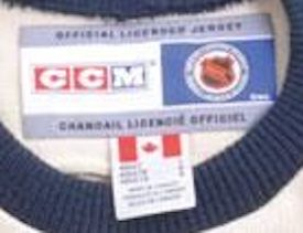 NHL CCM Heritage Jersey Collection inside the neck labels