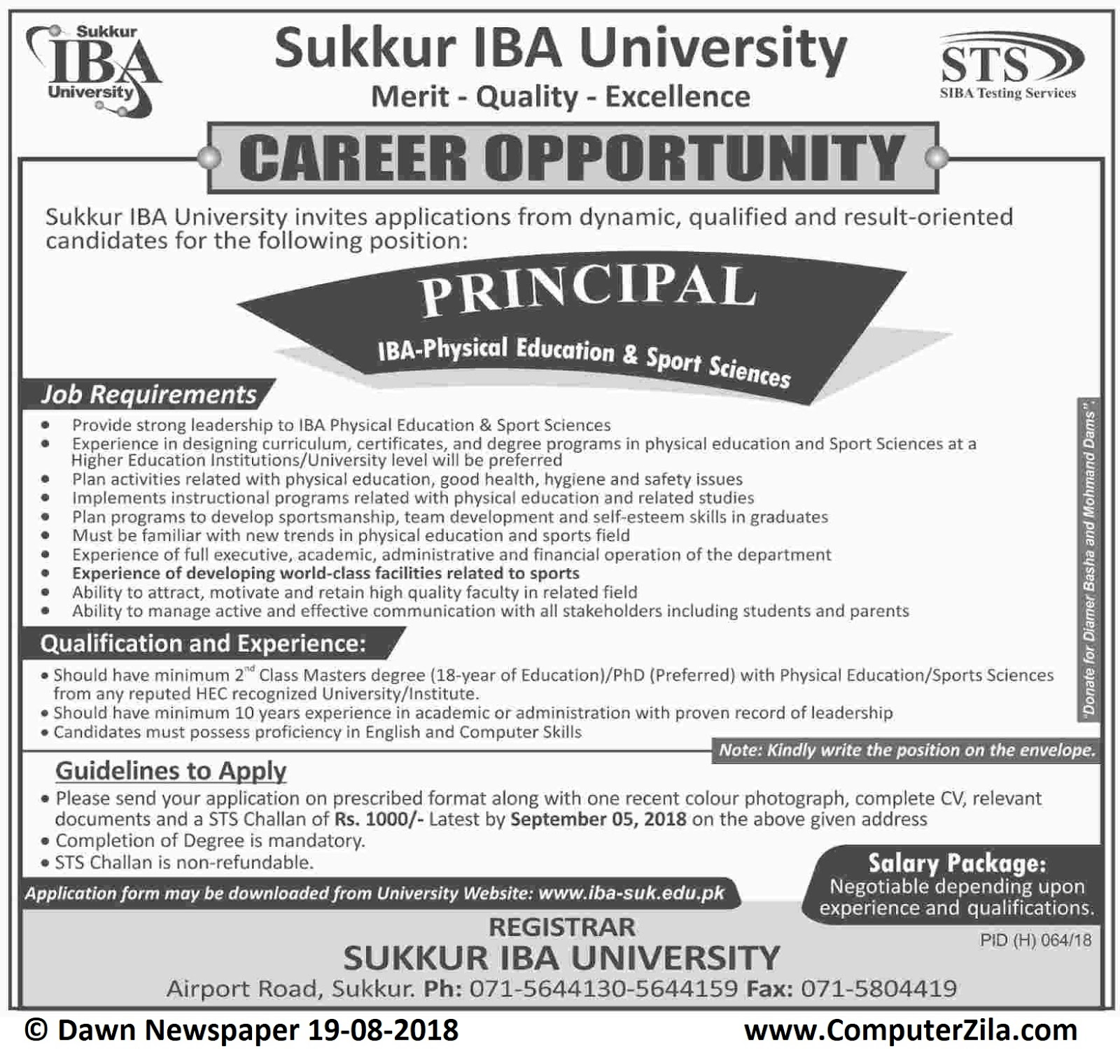 Career Opportunity at Sukkur IBA University