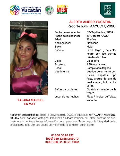 Alerta Amber para la adolescente Yajaira Marisol Ek May