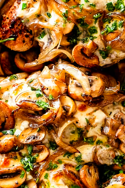 Cheesy Baked Chicken Breasts With Mushrooms