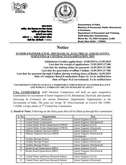 SSC JE 2019 Notification