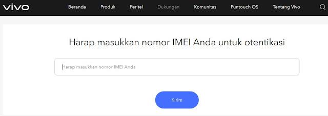 Cara Otentikasi Nomor IMEI Ponsel Vivo