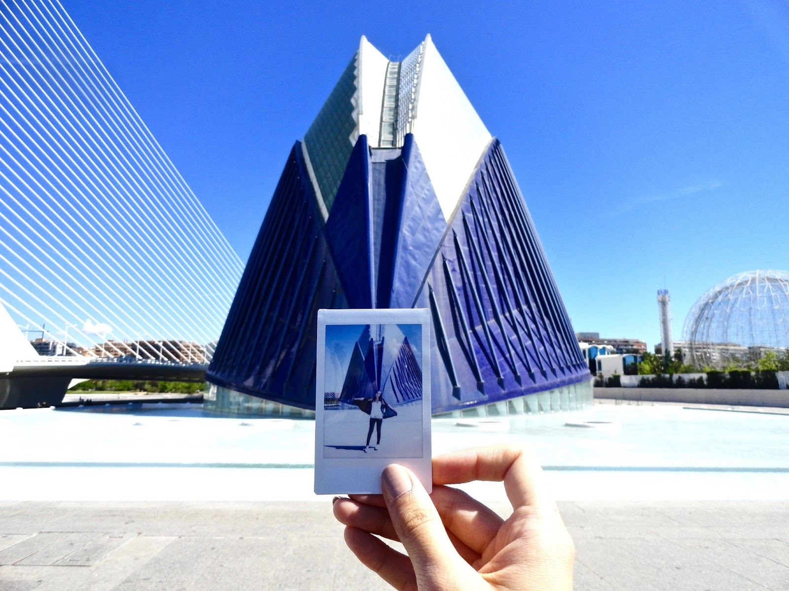 girl polaroid city of arts and science ciudad de las artes y las ciencias valencia spain