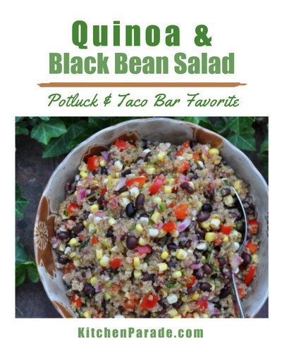 Quinoa & Black Bean Salad ♥ KitchenParade.com, a great make-ahead salad recipe. Hearty with quinoa and crunchy with vegetables, bright with lime.