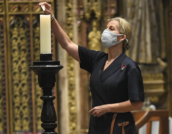 The Countess of Wessex attended the All Souls' Day service at Westminster Abbey. Mark Spencer navy swing midi blazer dress half sleeve