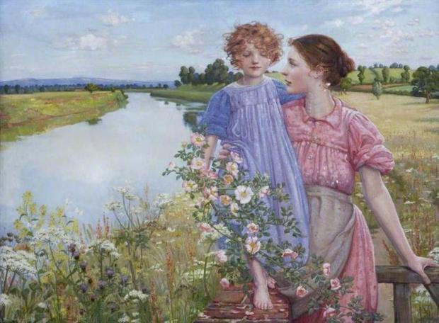Mildred Anne Butler Мать и ребенок у реки с дикими розами