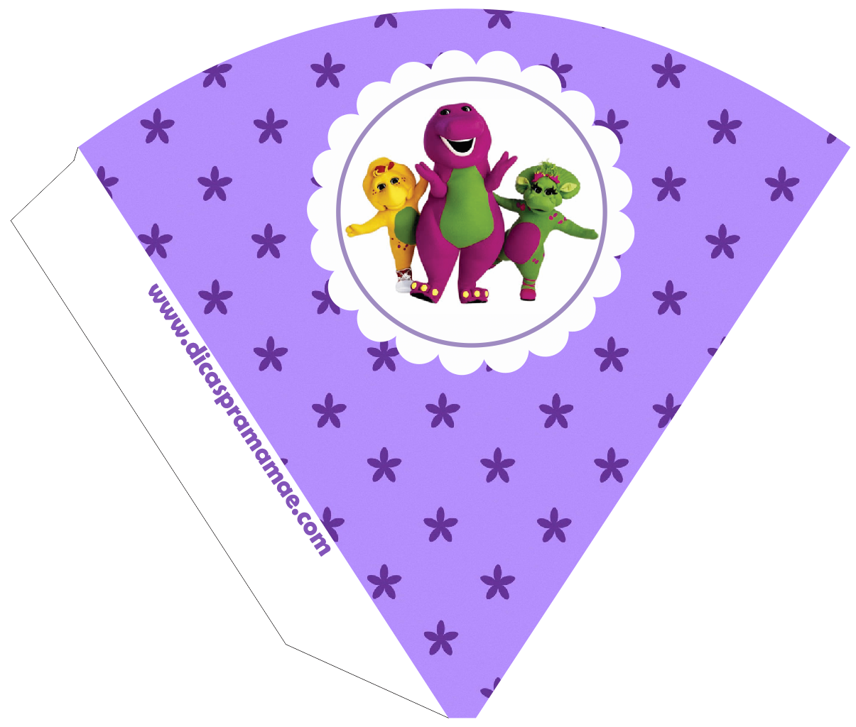 Barney Party  Free Printable Cones.